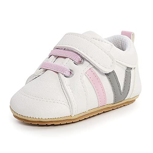 Cheerful Mario Primeros Pasos para Bebé Niños Niñas Zapatos Gateo Bebé Infantiles Zapatillas de Cuero Niños Pequeños Rosa 6-12 Meses