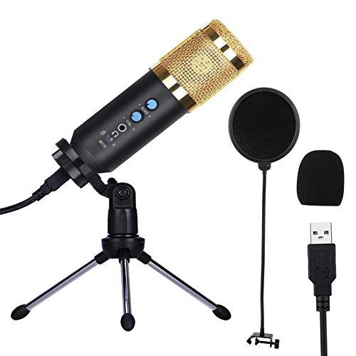 コンデンサー マイク PCマイク 録音マイク USBマイク 3.5mmプラグ エコー機能/音量調整機能/ミュート機能/ノイズキャンセル機能 Skype 配信 ゲーム実況 Windows Mac 対応 マイクスタンド/風防付属 日本語取扱説明書付き