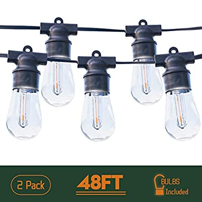 Outdoor String Lights Waterproof Patio Lights 2 Pack 48FT LED String Lights Commercial Hanging Lights String S14 Bulbs with 4 Spare 2700K Outdoor Lights String Decorative Patio Porch Garden