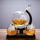 Personalidad Decantador de vino y gafas Set Whisky Decanter Set, Globe Wine Decanter Set con 4 gafas, bebidas Dispensador de bebidas Conjunto de regalo para alcohol, escocés, Vodka 800ml Diseño transp