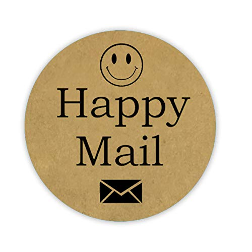 "Kraft Happy Mail Stickers 1.5"" Round Dot Labels - Smiley Face Mail Stickers Happy Thank You Labels 500 Kraft Sealing Stickers for Christmas Gifts (Brown)"