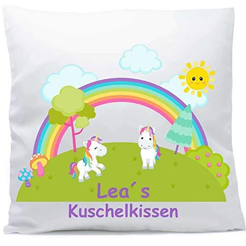 Kissen mit Namen Geburt Regenbogen Einhörner 40x40 cm inkl. Füllung Kuschelkissen, Kissen Farbe:Vorderseite weiß/RS rosa