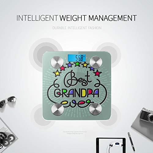 JXCSGBD Best Grandpa Ever Handwritten Lettering Grandparents Body Mass Scale Electronic Scales Bodyfat Scale Tracks 8 Key Compositions Analyzer Sync with Fitness Apps 400 Lbs