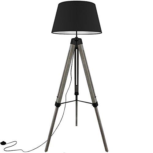 Grundig Tripod Stehlampe mit Textilschirm E27 40W H100-150cm in 3 Farben Stehleuchte Stativlampe Stativleuchte, Farbe:Schwarz