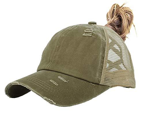 Muryobao Women Ponytail Baseball Caps Visor Criss Cross Mesh Hole Hats Adjustable High Messy Bun Ponycap Trucker Hats for Outdoor Sports Travel Vintage Distressed Washed Denim Cotton, Army Green