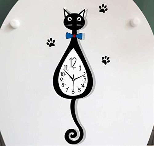 Toilet Sticker Grappige Klok Kat Muur Persoonlijkheid Home Decor Wc Decal 11.1 * 24.4Cm