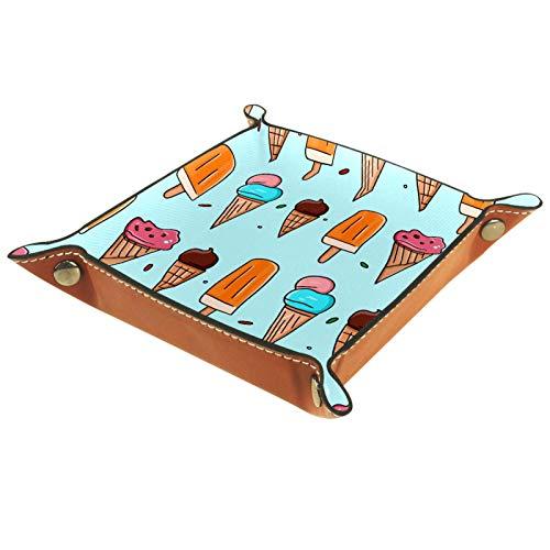 Valet Plateau Organisateur de Bureau boîte de Rangement en Cuir Illustrations sans Couture de Plateau de fourre-Tout de crème glacée pour Un Usage Domestique