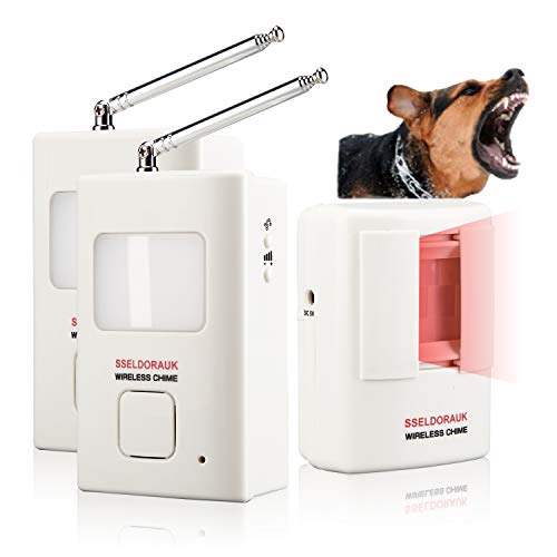 Dog Barking Alarm Motion Detector,Pir Wireless Human Body Walking Sensor Doorbell Door Security Alert System Device for Home or Office Burglar Deterrent (1Sensor + 2Receivers, White)