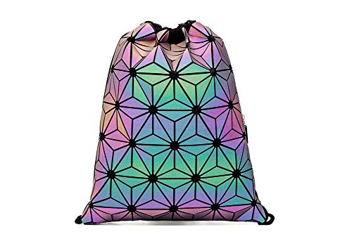 Geometric Luminous String Backpack Drawstring Bag String Draw Gym Sports Purse Handbags Holographic Crossbody Shoulder Women Teenage Girls School Beach