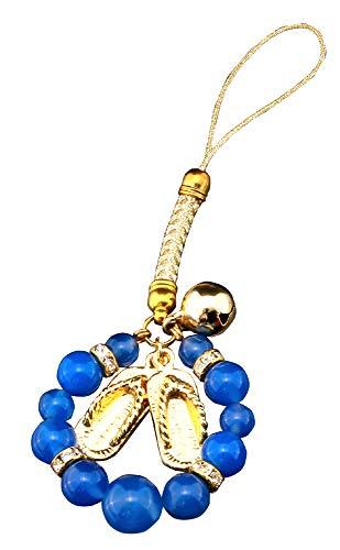 プレジャー ストラップ 青メノウ 全長:約12cm 杖なし願い宝石ストラップ ST-701