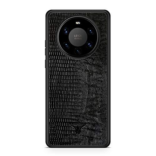 GAZZI Lederhülle für Huawei Mate 40 PRO Hülle Hülle Schale Backcover Handyhülle Schutzhülle Echt Leder, R&umschutz, Flexible Schale (Lizard Schwarz)