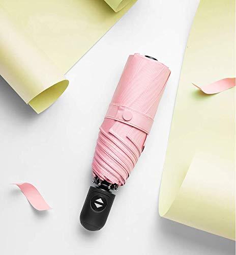 Paraguas para sombrilla, protección Solar, protección UV, automático, Plegable, para Mujer con Sol y Lluvia, Dos Pliegues, automático, Color Coral