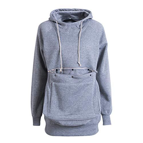Men Women Pet Pouch Hoodie Long Sleeve Big Kangaroo Pocket Pullover Cat Puppy Holder Hooded Sweatshirt (Grey , M )