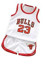 ボーイズ・ガールズサマーキッズスポーツジャージーのためのブルズ#23ジョーダンキッズバスケットボールジャージセット2ピース、タンクトップとショートパンツ White-160#