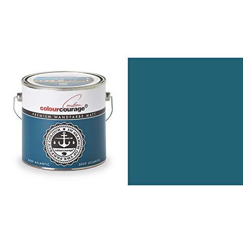 2,5 Liter Colourcourage Premium Wandfarbe Deep Atlantic Blau Türkis | L709449612 | geruchslos | tropf- und spritzgehemmt