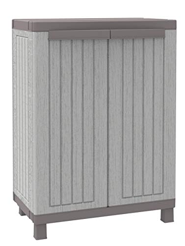 Terry, C-Wood 680, Schrank mit 2 Türen in Holz-Optik und einem Einlegeboden, für innen und außen. Farbe: Grau, Material: Kunststoff, Abmessungen: 68x39x91,5 cm, Grau/Taubengrau