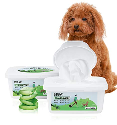 Pet Grooming Wipes with Deodorizing Hypoallergenic for Dogs Cats Cleaning Face Butt Eyes Ears Paws 100ct per Pack (Aloe, 2 Pack)