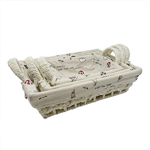 Rayline Home - 3er Set Weidenkorb mit Griff - platzsparend stapelbar für Deko oder zur Aufbewahrung in Bad oder Küche - Abnehmbarer Innenstoff mit maritimen Motiven Bedruckt