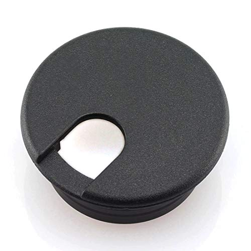HJ Garden 2pcs 1-1/2 inch Desk Wire Cord Cable Grommets Hole Cover Office PC Desk Cable Cord Organizer Plastic Cover Black