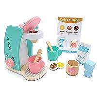 giochi in legno set di giocattoli per giocare a preparare e servire caffè – in legno, accessori da cucina, 13 pezzi