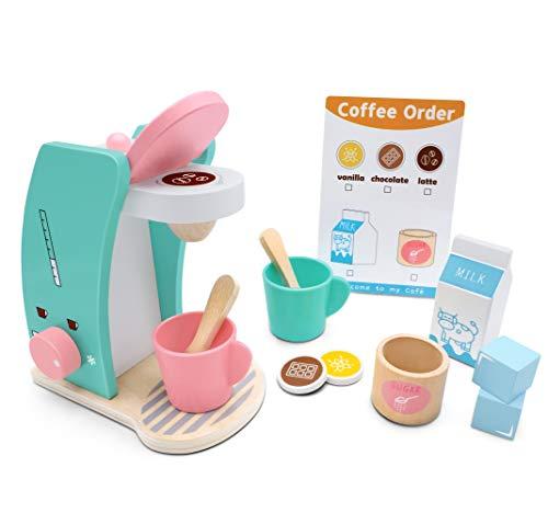 Tiny Land Brew & Serve Kaffeemaschinen-Set aus Holz - Spielen Sie Küchenzubehör, ermutigen Sie einfallsreiches Spielen, 13 Teile, verbessertes Spielzeug-Kaffeeset für Kinder
