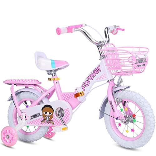 HJRBM Bicicletas Bicicleta Rosa Adecuada para niña Bicicleta de montaña al Aire Libre para niña Bicicleta estática de Interior para niña Bicicleta estática para niños Pedal Plegable para niños