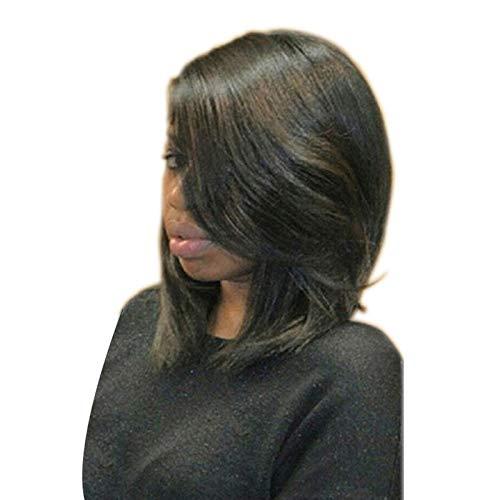 Jiafa Perruque en fibres chimiques dames blanche frange oblique courte perruque de cheveux chauds teints en duvet