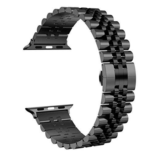 Para apple watch 44mm 40mm series 6 5 4 se band3 42mm 38mm pulsera de eslabones de acero inoxidable correa de negocios