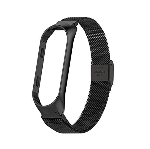 Jun store Reloj Fit Fit for MI Band 3 4 5 6 Smart Pulsera en Fit para MI BAND 4 Acero inoxidable Reemplace Strap Fit para Xiaomi 6 5 4 3 Strap pulsera ( Band Color : Black-2 , Size : For mi band 5 6 )
