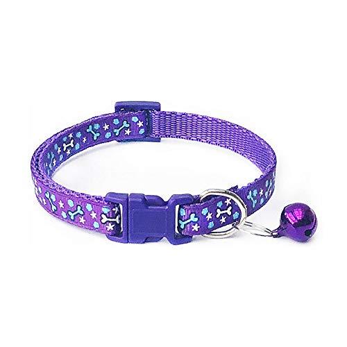 Hondenhalsband, lila Pet bot patroon kraag polyester mooi met klokken huisdieren verstelbare halsbanden alle seizoenen ademende gewatteerde gezellige lichte outdoor training halsband, Small