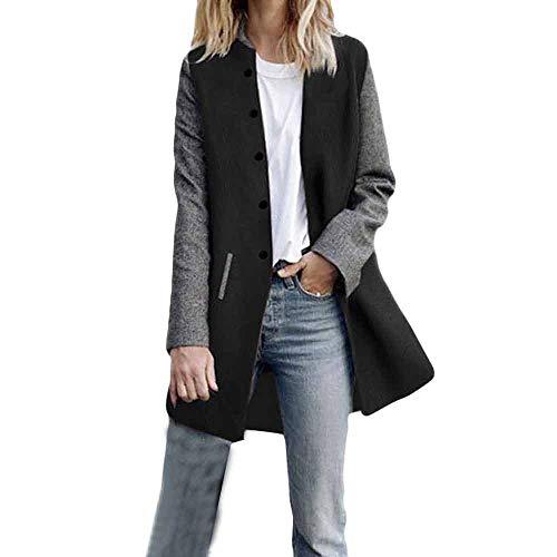Chaqueta de manga larga para mujer, color de colisión, chaqueta cortavientos de manga larga a ambos lados, abrigo de lana, abrigo de tránsito Negro M