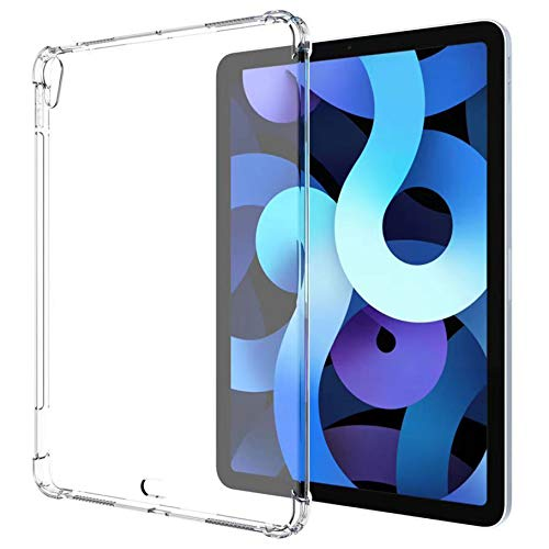 """SFFINE Transparent TPU Case for iPad Air 4th Generation 10.9"""" 2020, Support 2nd Gen Pencil Charging, Reinforced Corners Shockproof Flexible Gel Rubber Clear Back Cover Skin for iPad Air 4 10.9 Inch"""
