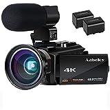 Caméscope 4K Vlogging Caméra Vidéo Ultra HD Wi-Fi Appareil Photo Numérique 48MP 3'' écran Tactile Vision Nocturne 16X Enregistreur de Zoom Numérique,Microphone Externe,Lentille Grand Angle,2 Batteries
