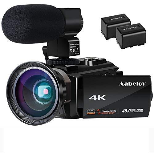Videocámara 4K Vlogging Cámara Digital con WiFi Ultra HD de 48.0MP 3.0 Pulgadas Pantalla táctil Visión Nocturna 16X Grabador de Zoom Digital con micrófono Externo y Lente Gran Angular, 2 baterías