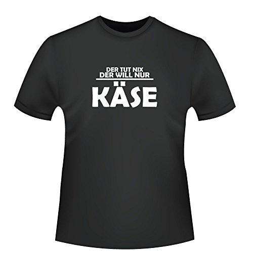 """Shirtzshop ID104186 - Camiseta para hombre, diseño con texto en alemán \""""Der Will nur Käse\"""" Negro S"""