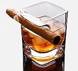 Bicchiere da whisky per sigari con umidificatore integrato, adatto per whisky, whisky, birra, vino, liquori (A)
