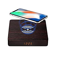 Wooden Digital Alarm Clock with QI Wireless Charging Board, 10W Fast Wireless Charging Station for iPhone/Samsung Galaxy, Bedroom Sleep Timer Wake Up, Bedside Wooden LED Clock Walnut Color