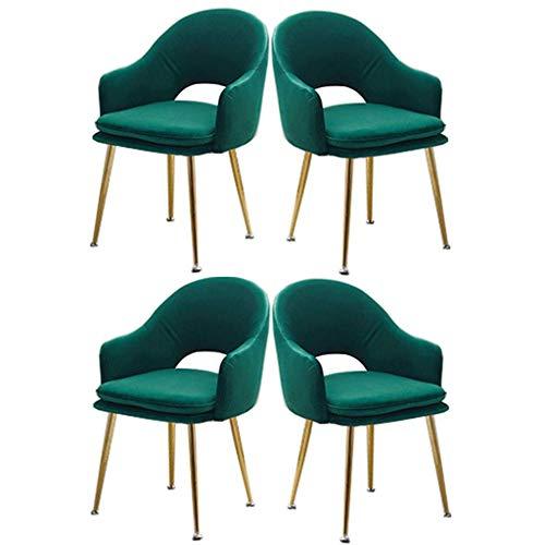 HYZXK Silla de Comedor, Juego de 4 sillas Decorativas, sillón, sillón, Taburete de tocador de Maquillaje, Dormitorio de niña, Sala de Estar, cafetería, Silla de Ocio (Color: Verde)
