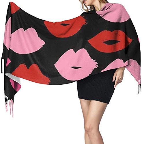 Rode en roze lippenstift schoonheid mode zachte kasjmier sjaal wrap sjaals lange sjaals voor vrouwen office partij reizen 68X196 cm