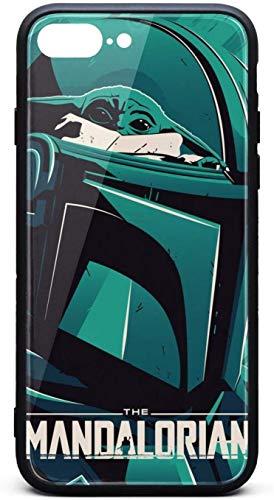 Funda para iPhone 8 Plus/iPhone 7 Plus The-Mandalorian-Poster-Custom- Unisex de moda de vidrio templado negro antiarañazos, TPU goma parachoques de goma