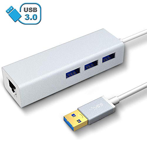 VersionTECH. Hub Ethernet con 3 USB Puertos con RJ45 Adaptador de Red de 10/100M,Hub USB 3.0 LAN para Macbook, Chromebook, Windows 10, 8.1 8, 7, XP, Vista, Mac OS X 10.11,Surface Pro, Wii (Plata)
