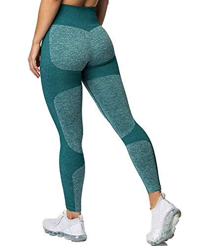 STARBILD Leggings Deportivo sin Costuras de Cintura Alta Pantalones de compresión de Mujer Adelgazamiento para Fitness Yoga #B-Verde Leggings S