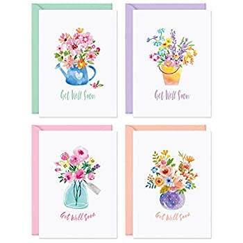 Sweetzer & Orange Bulk Get Well Cards With Envelopes 24 Get Well Soon Card Assortment 300gsm Note Cards and Envelopes  120gsm  Thick Greeting Cards and Envelopes Feel Better Soon Cards.
