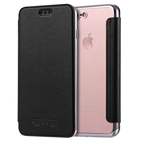 Sweau Coque Cuir iPhone 7 Plus, Etui iPhone 8 Plus, Housse Etui en Cuir Flip Case avec Fentes de Carte Ultra Mince Premium Flip Housse Coque Anti-Choc TPU Silicone Etui pour iPhone 7 Plus/8 Plus