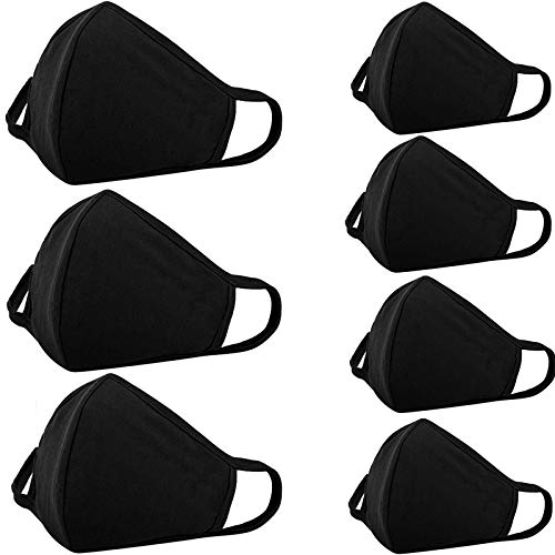 7-Pack Cloth Face Protection Reusable and Washable, with Nose Bridge Wire - Breathable Unisex Dustproof Comfy Fabric for Women Girls Boys Men