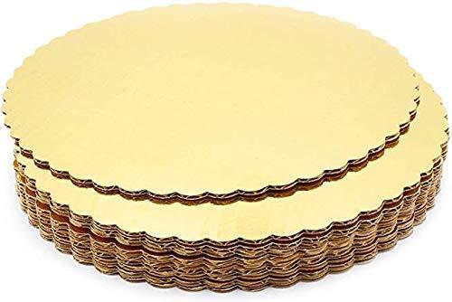 APOLLINE INDIA 10 Inch Premium Gold Cake Base Circles, Corrugated, Cake Board, Cardboard Round Cake Circle Base, 10 Inches Diameter, Gold (Pack of 5)