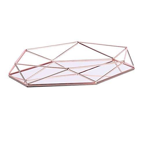 HMILYDYK Lujosa bandeja de almacenamiento de metal de oro rosa adornada bandeja decorativa de escritorio artículos de repuesto para colocar la bandeja de joyería contenedor de maquillaje estante