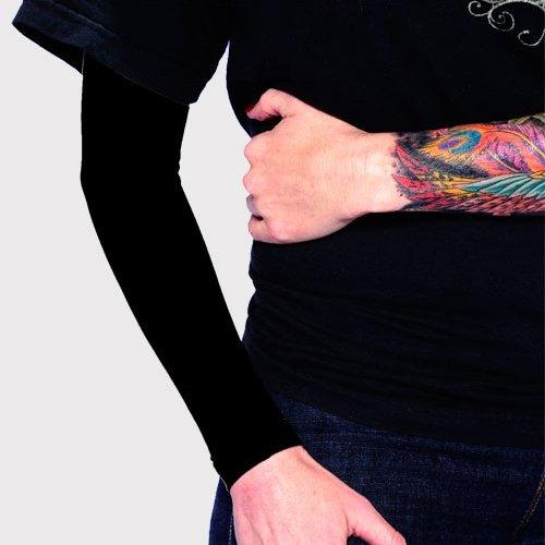 Tat2X Ink Armor Premium Full Arm Tattoo Cover Up Sleeve - No Slip Gripper - U.S. Made - Black - ML