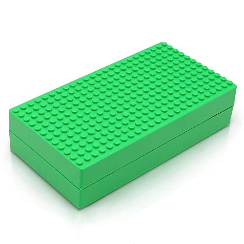 Feleph Classic Bricks Box Toys Storage Organizers Portable Blocks Carrying Case Kids Travel Toys Containers School Supplies Figures Display Baseplate Suitcase (Green)