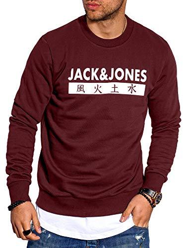 JACK & JONES Herren Sweatshirt Pullover Print Rundhals Streetwear 4 Elements (Large, Port Royale)